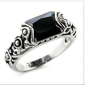Silver Celtic Onyx Ring Band Black CZ Size 9 10